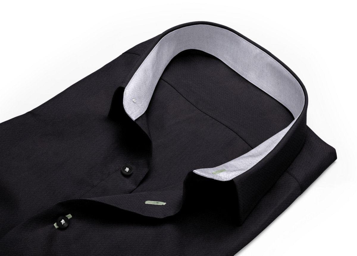 Chemise homme sur mesure col boutonné sous patte noir uni