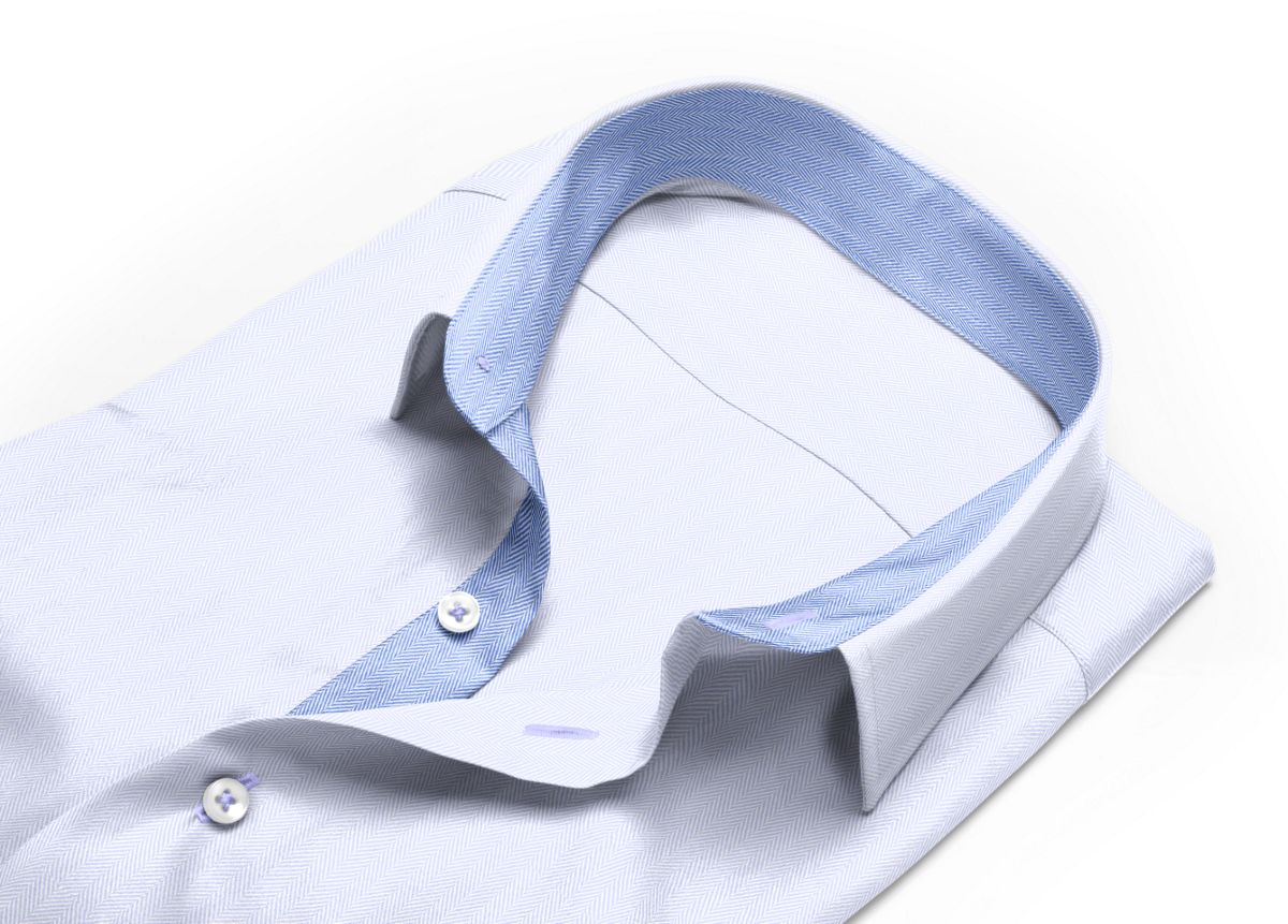 Chemise Petit col classique Blanc chevrons