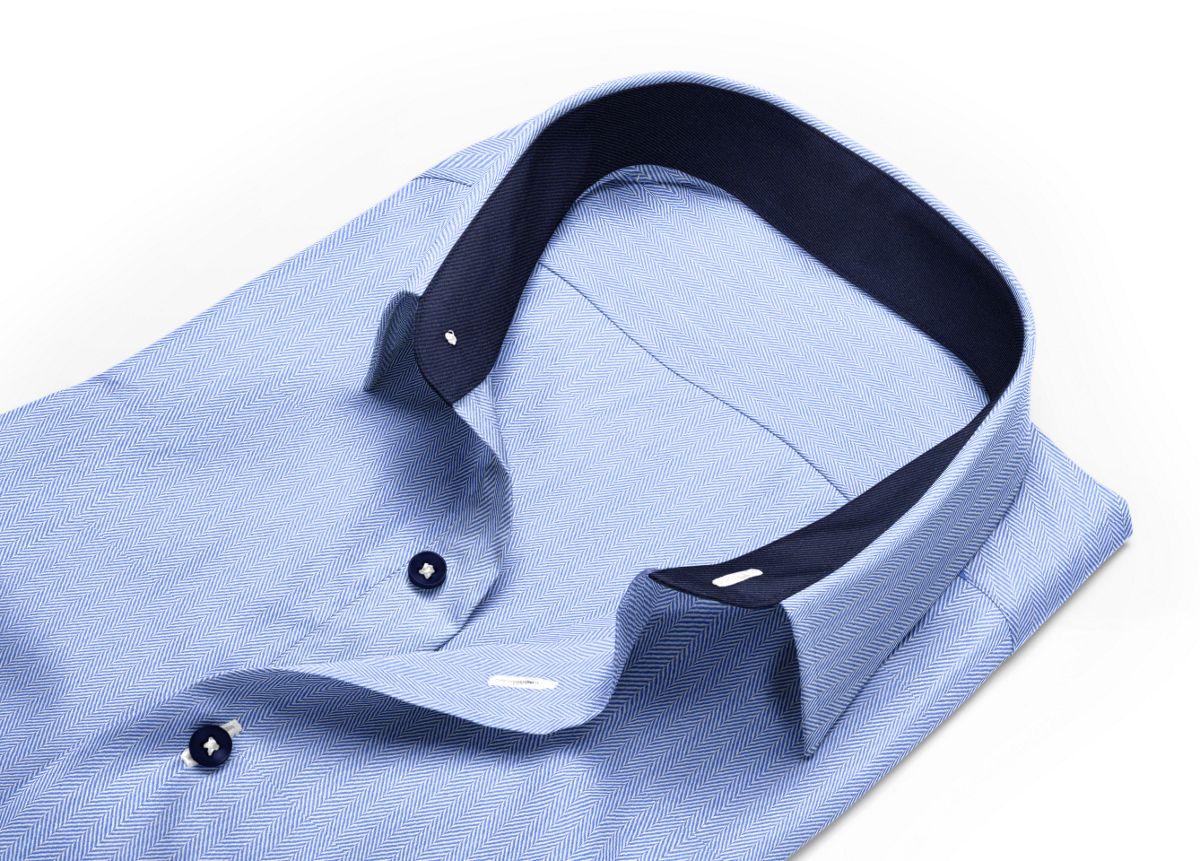 Chemise Col italien bleu, bleu clair chevrons