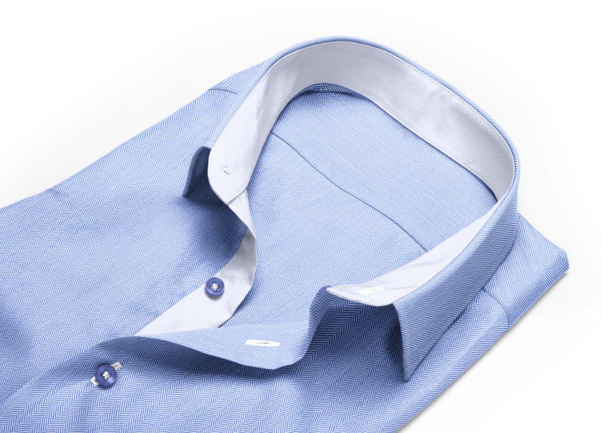 Chemise Col boutonné sous patte bleu, bleu clair chevrons