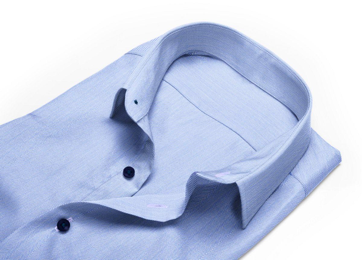 Chemise homme sur mesure col classique bleu, bleu clair uni