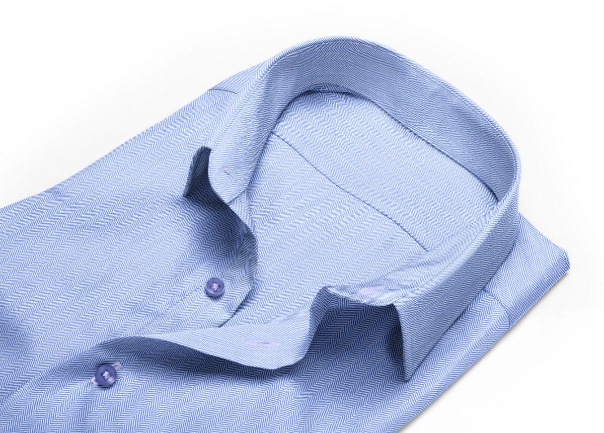 Chemise Grand col classique bleu, bleu clair chevrons