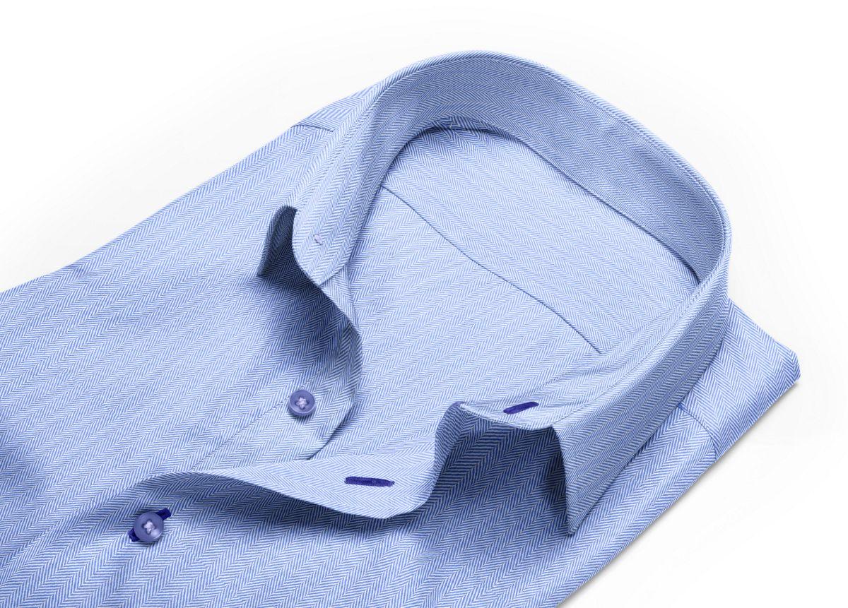Chemise Petit col classique bleu, bleu clair chevrons