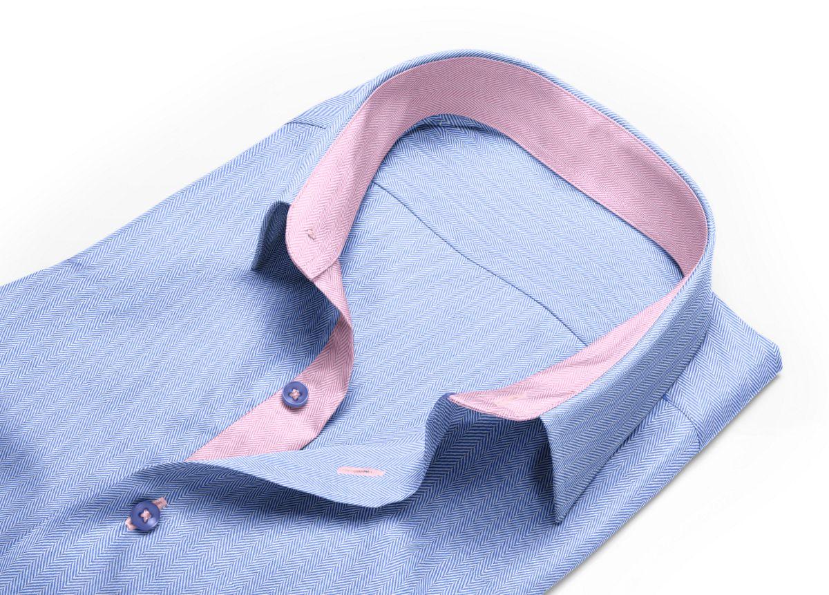 Chemise homme sur mesure grand col classique bleu, bleu clair uni
