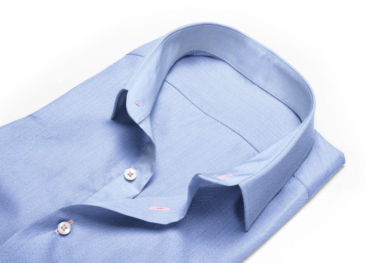 Chemise homme sur mesure col italien bleu, bleu clair uni
