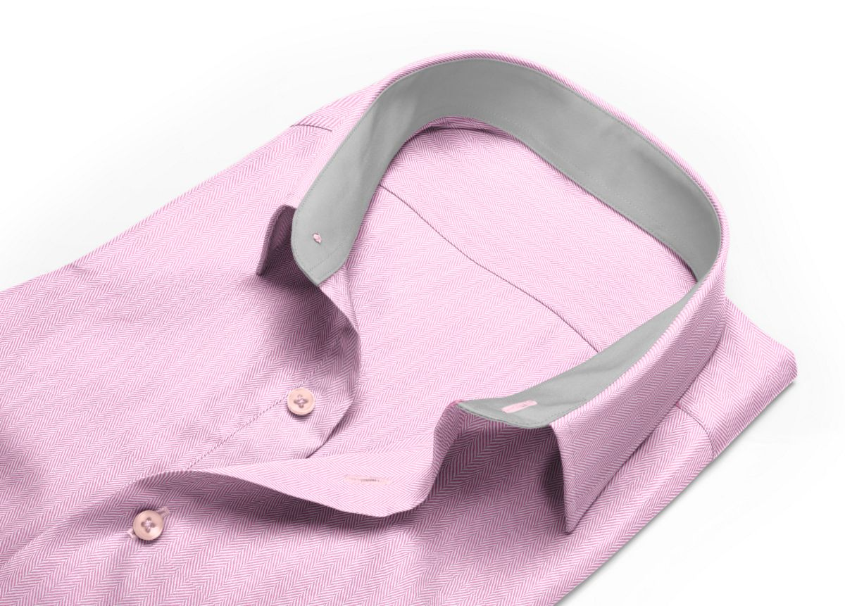 Chemise homme sur mesure col italien rose uni