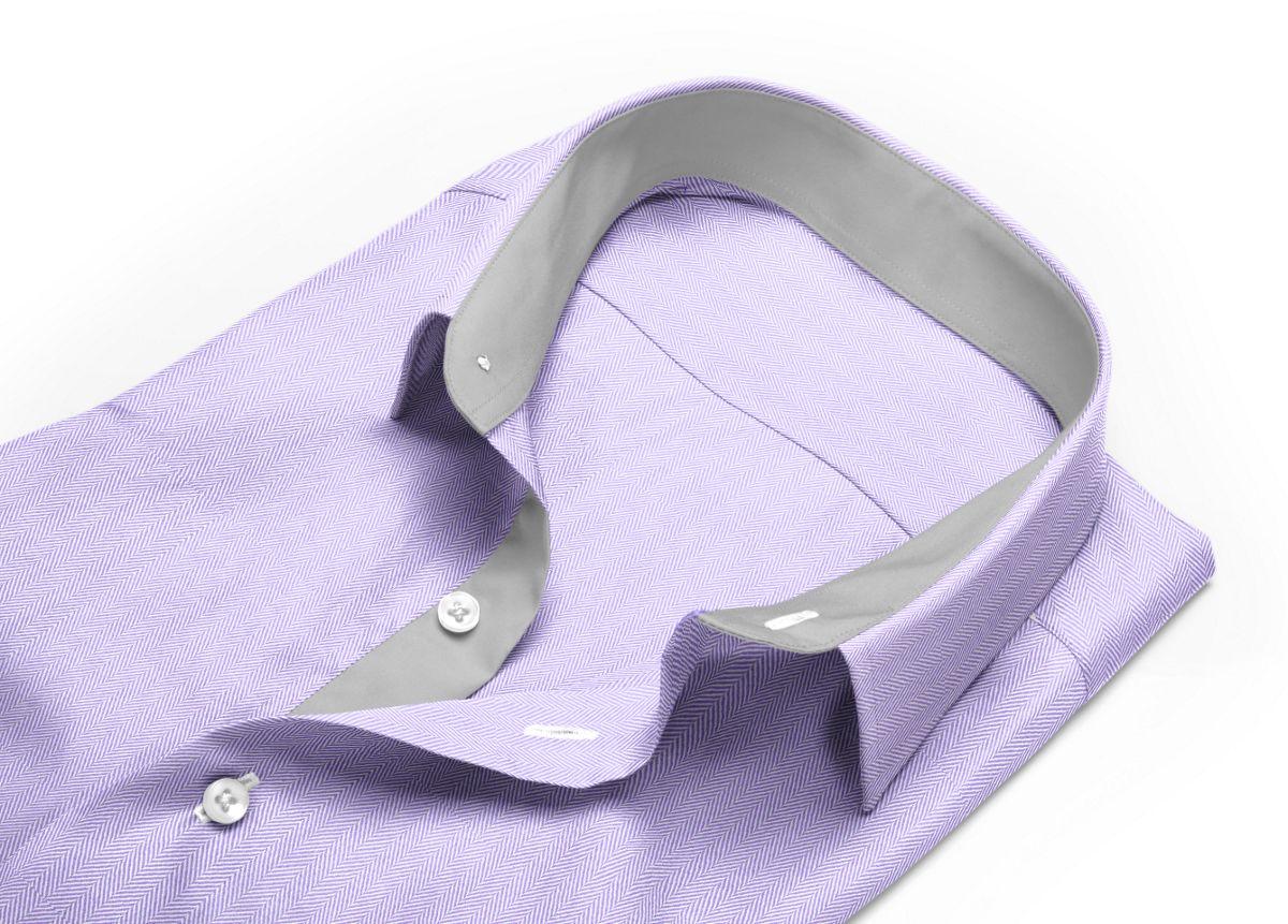 Chemise homme sur mesure col classique violet, violet clair uni