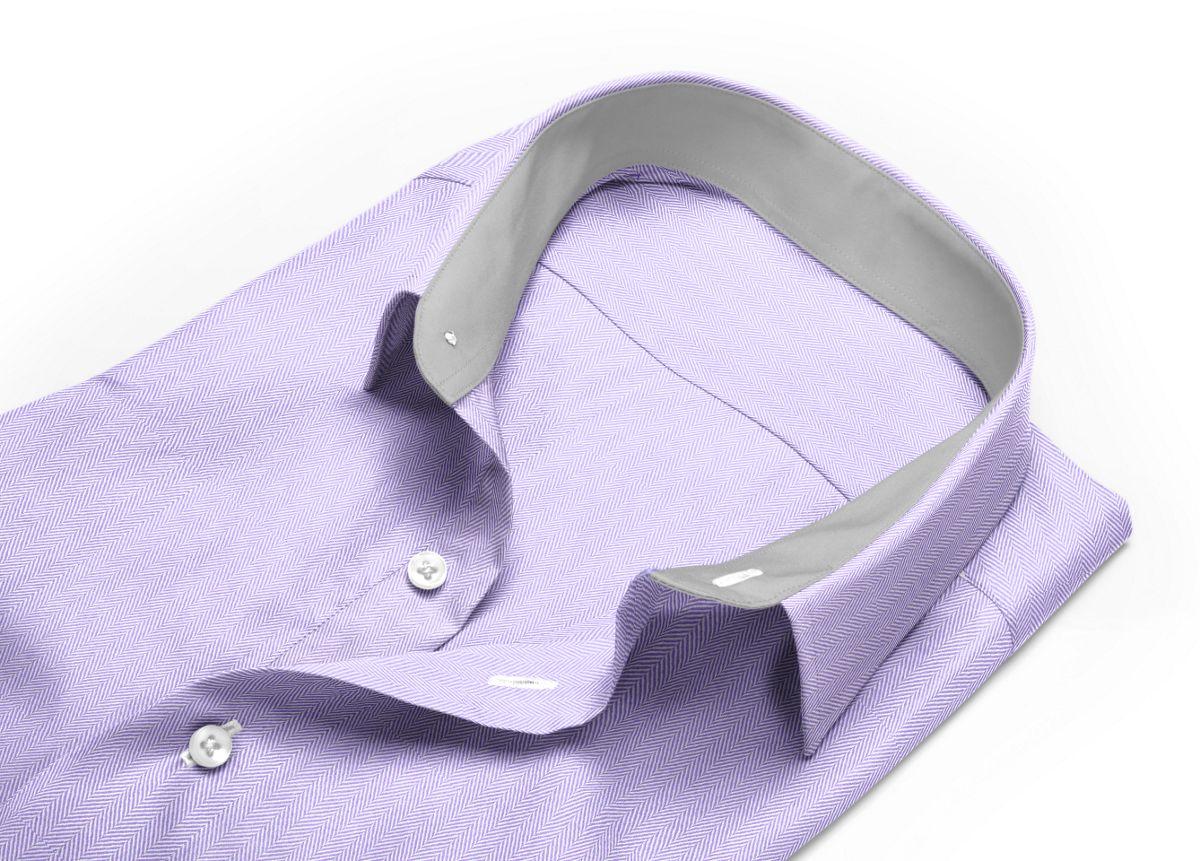 Chemise Col classique violet, violet clair chevrons