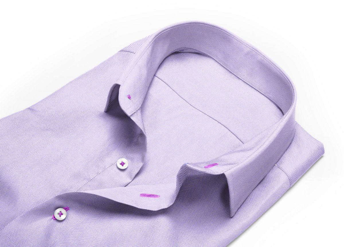 Chemise Col italien violet, violet clair chevrons