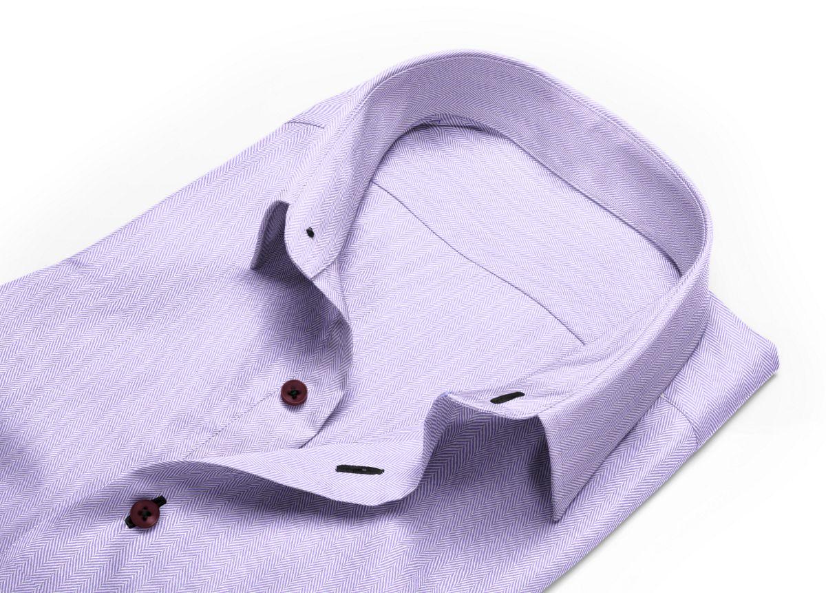 Chemise homme sur mesure petit col classique violet, violet clair uni