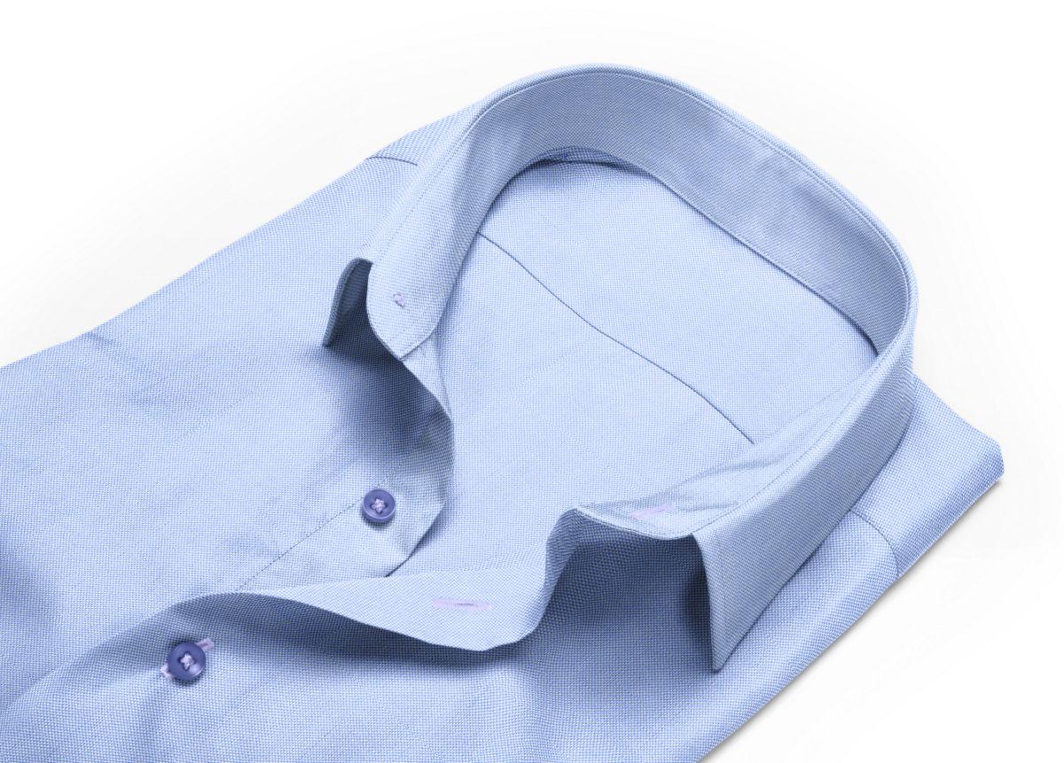 Chemise homme sur mesure col classique bleu, bleu ciel uni