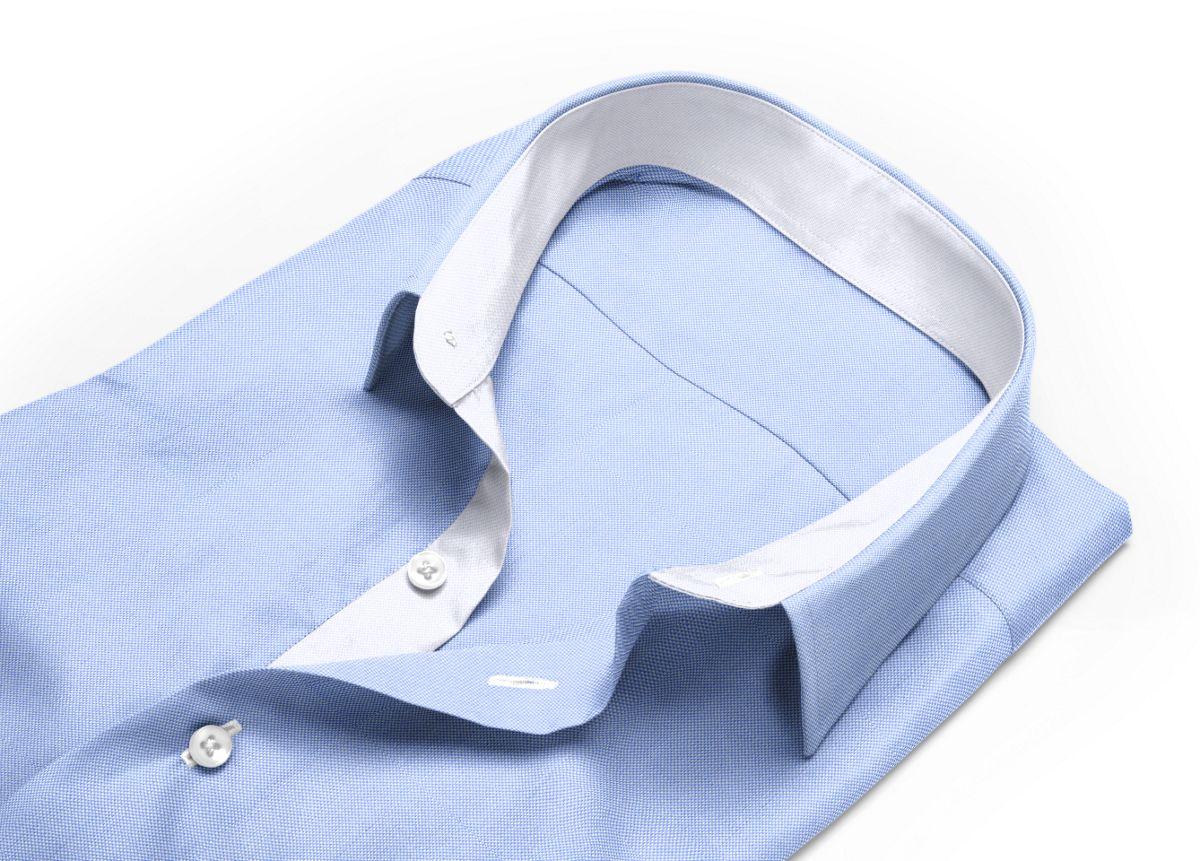 Chemise Grand col classique bleu, bleu ciel royal oxford