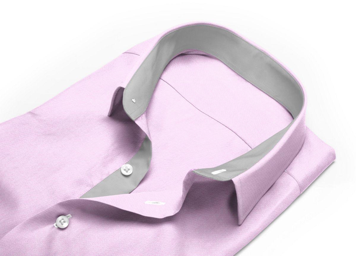 Chemise homme sur mesure mini col rose uni