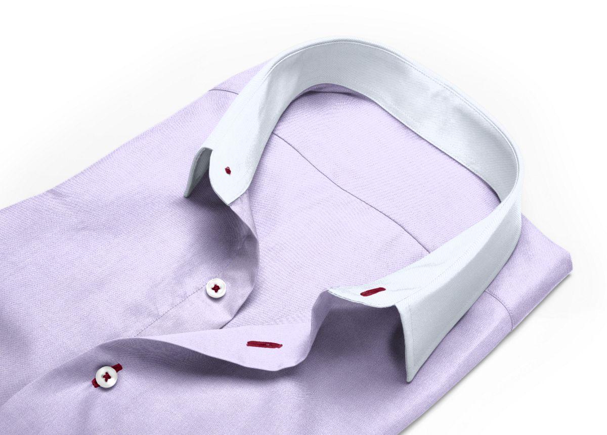 Chemise Col italien violet, violet clair oxford