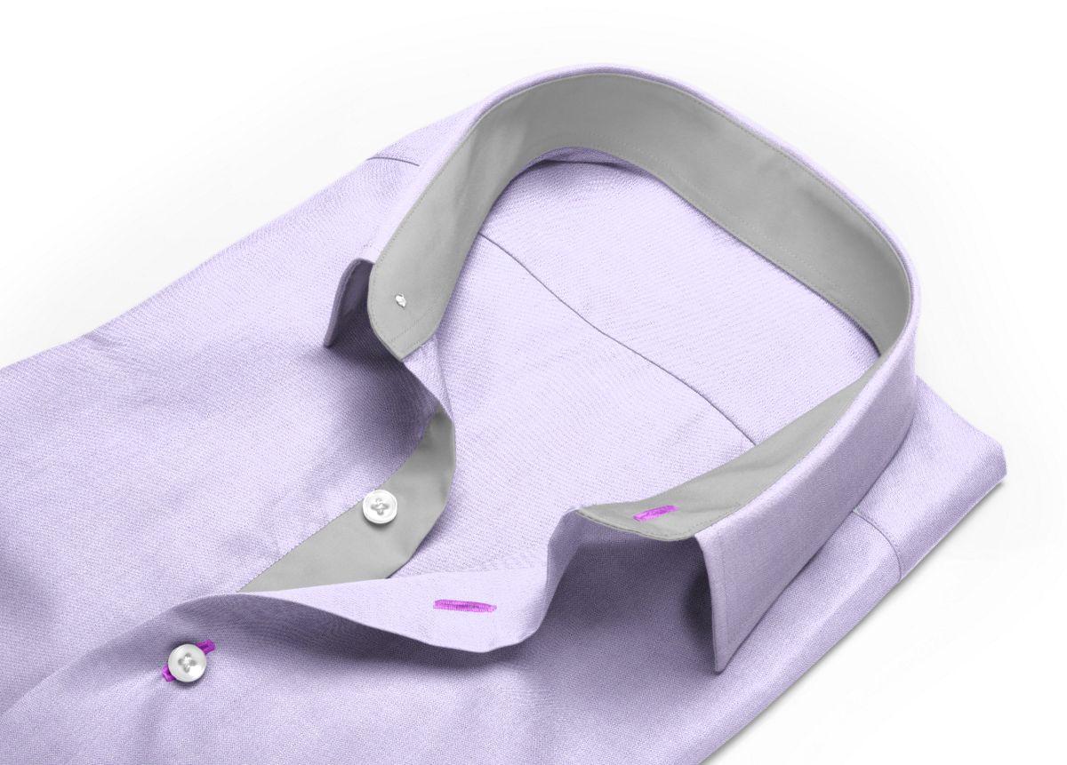 Chemise homme sur mesure col italien violet, violet clair uni