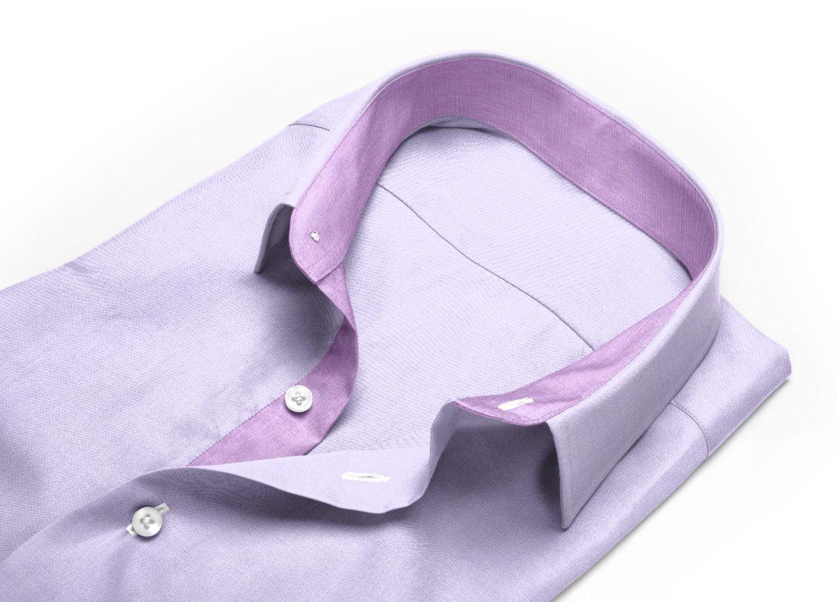 Chemise Col italien ouvert violet, violet clair oxford