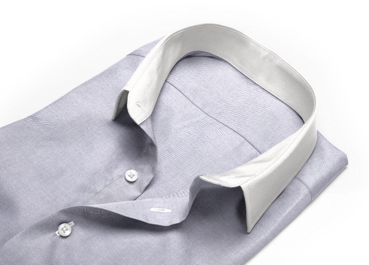 Chemise homme sur mesure col italien gris uni