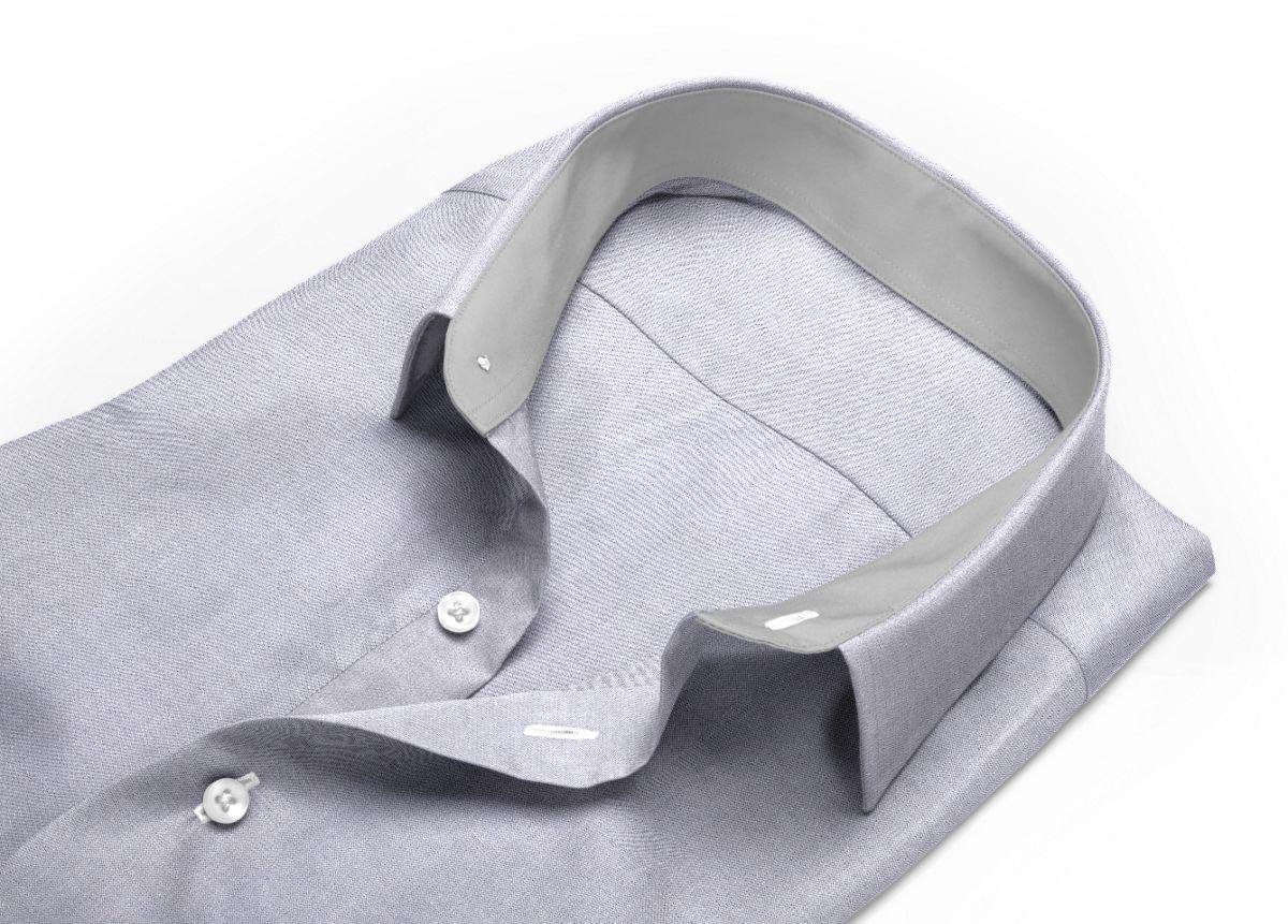 Chemise homme sur mesure grand col classique gris uni