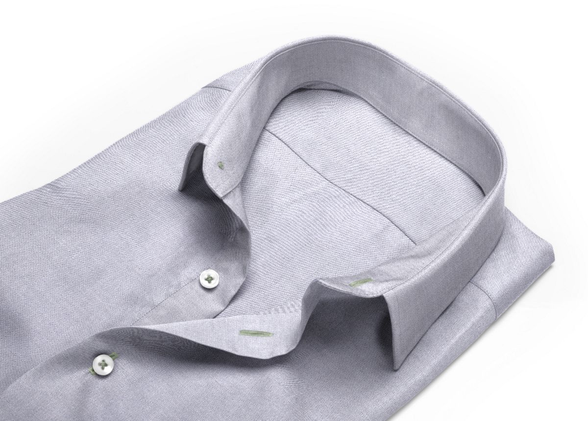 Chemise Col italien ouvert gris oxford