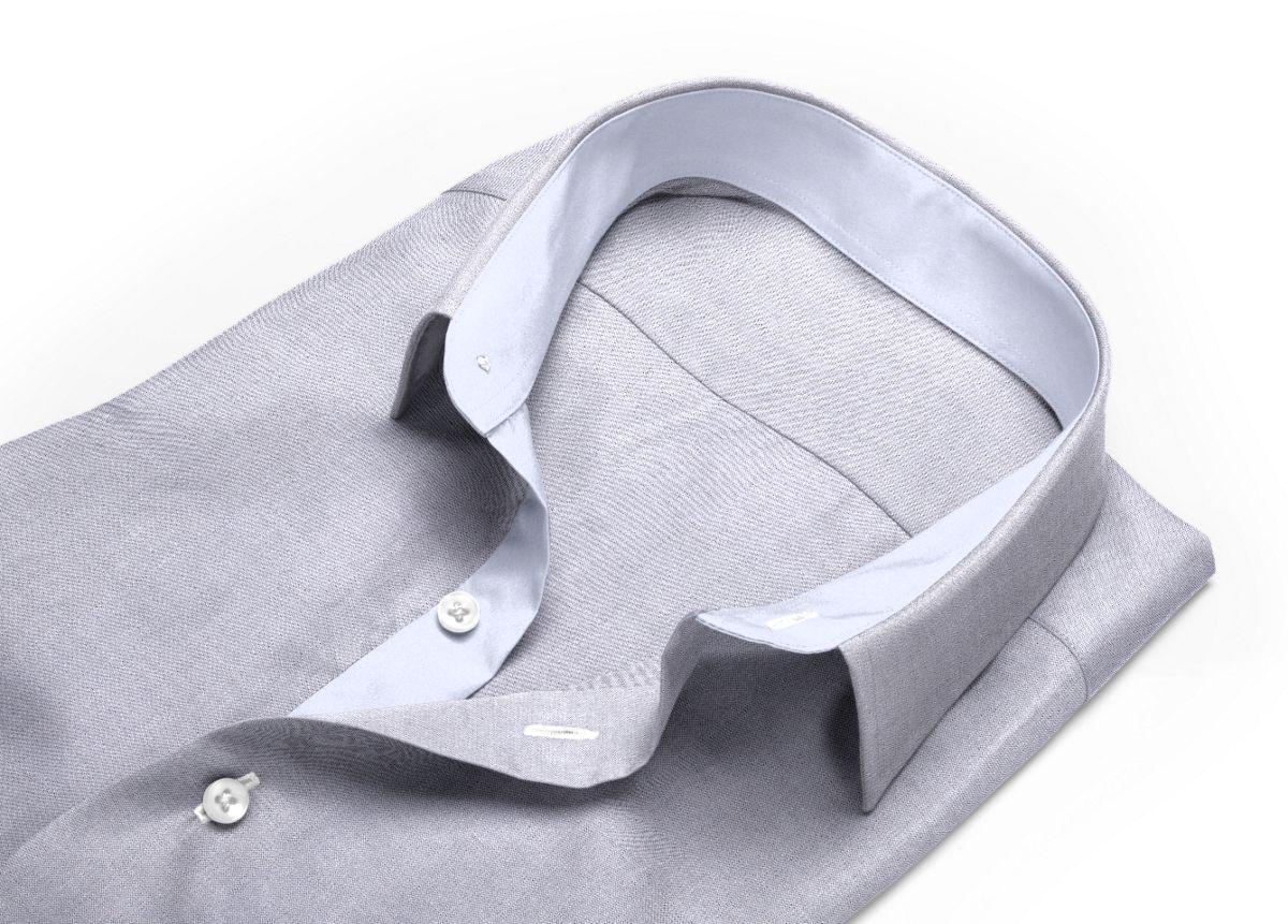 Chemise Col boutonné sous patte gris oxford