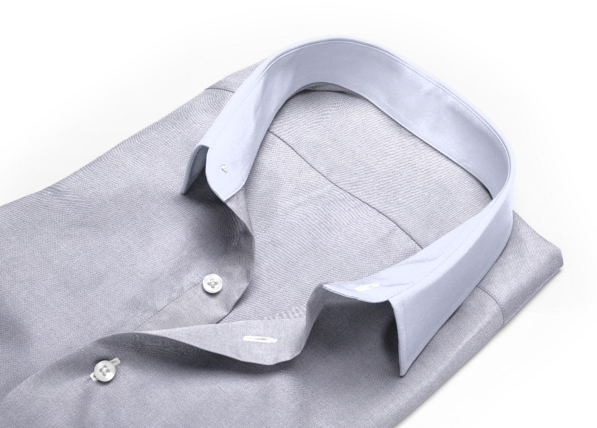 Chemise Col italien gris oxford