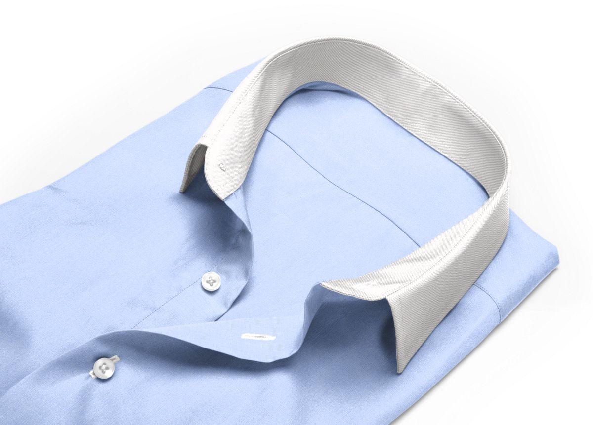 Chemise Col italien bleu, bleu clair fil à fil