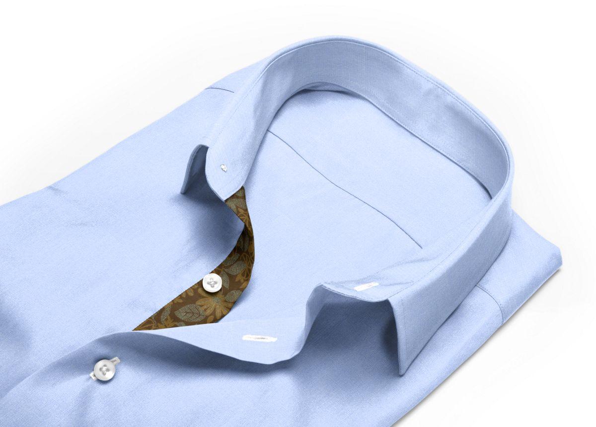 Chemise homme sur mesure col italien ouvert bleu, bleu clair uni
