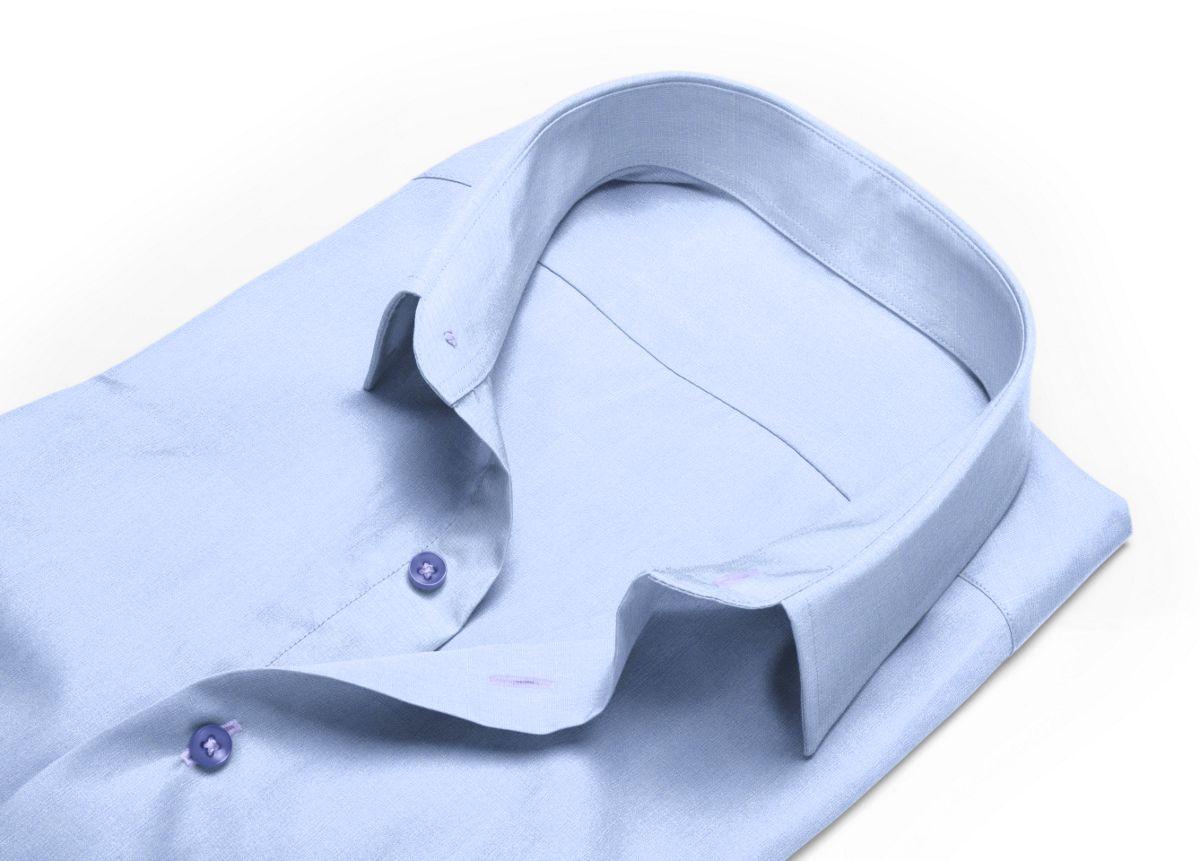 Chemise Col boutonné bleu, bleu clair fil à fil