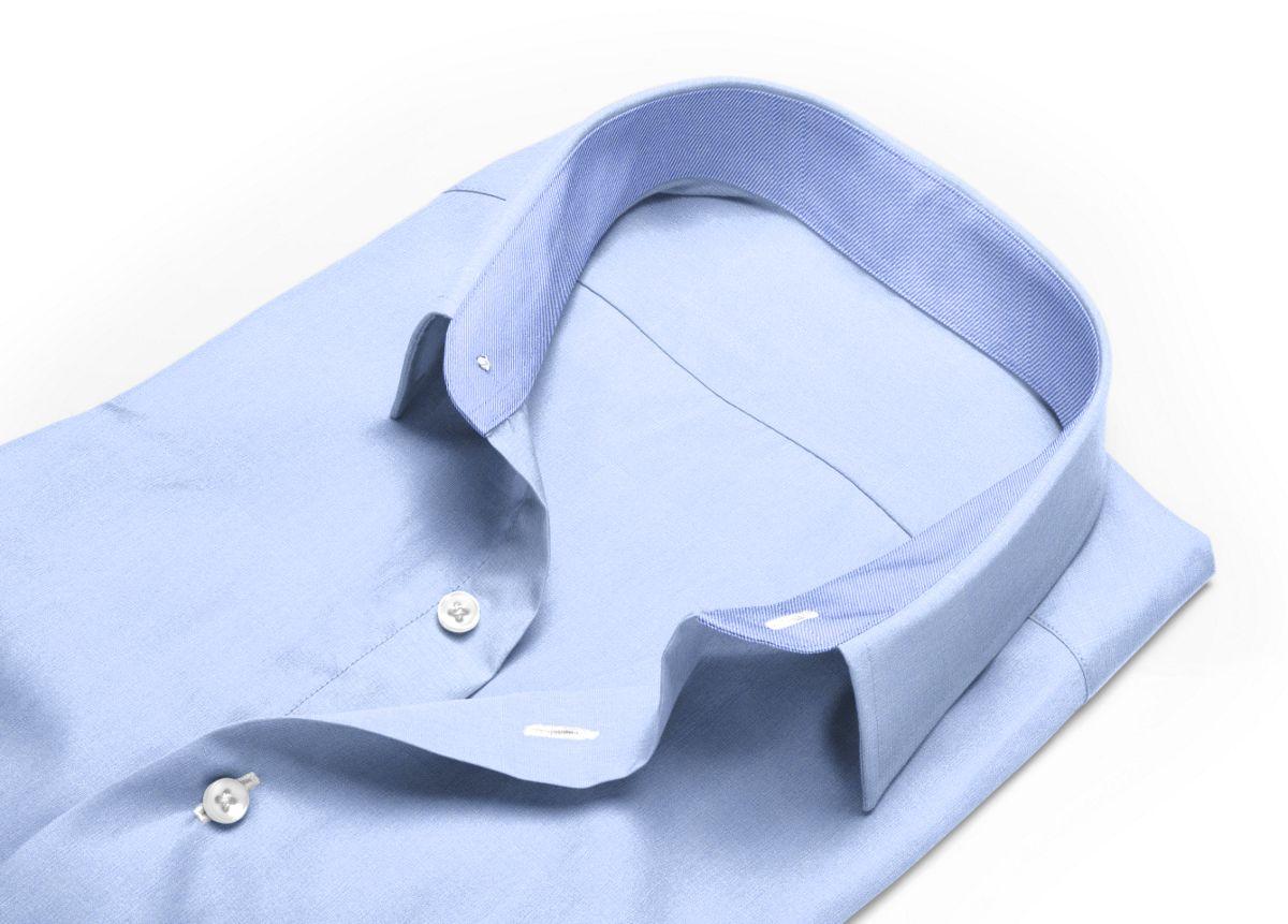 Chemise Col classique bleu, bleu clair fil à fil