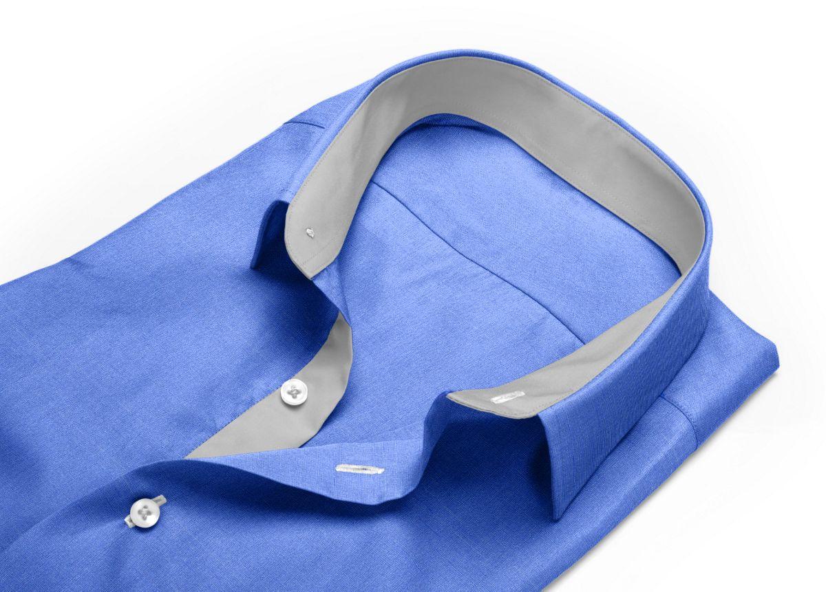 Chemise homme sur mesure col boutonné bleu, bleu foncé uni