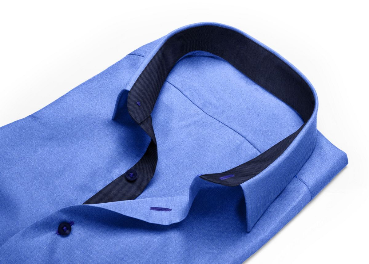 Chemise Col italien ouvert bleu, bleu foncé fil à fil