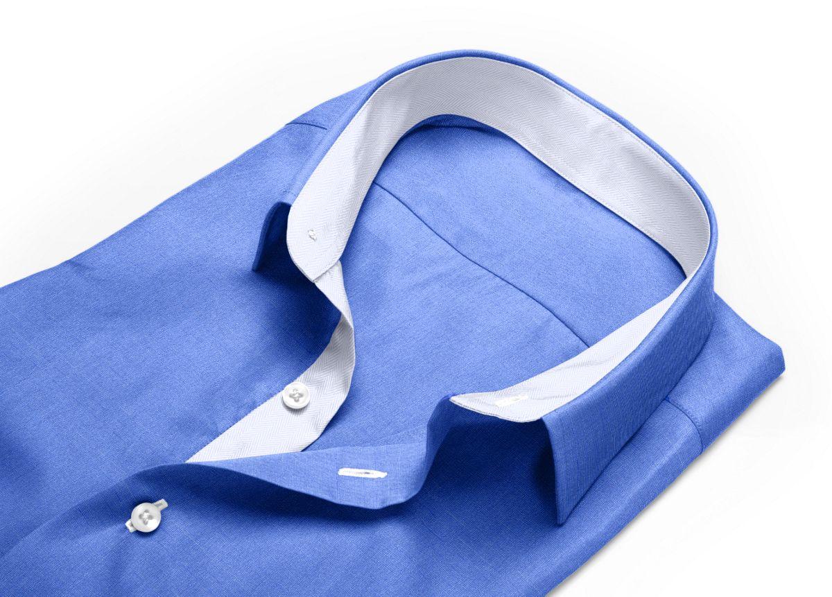 Chemise Col classique bleu, bleu foncé fil à fil
