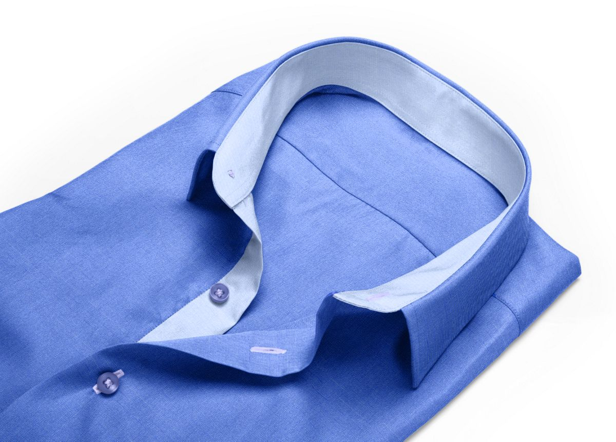 Chemise Col italien bleu, bleu foncé fil à fil