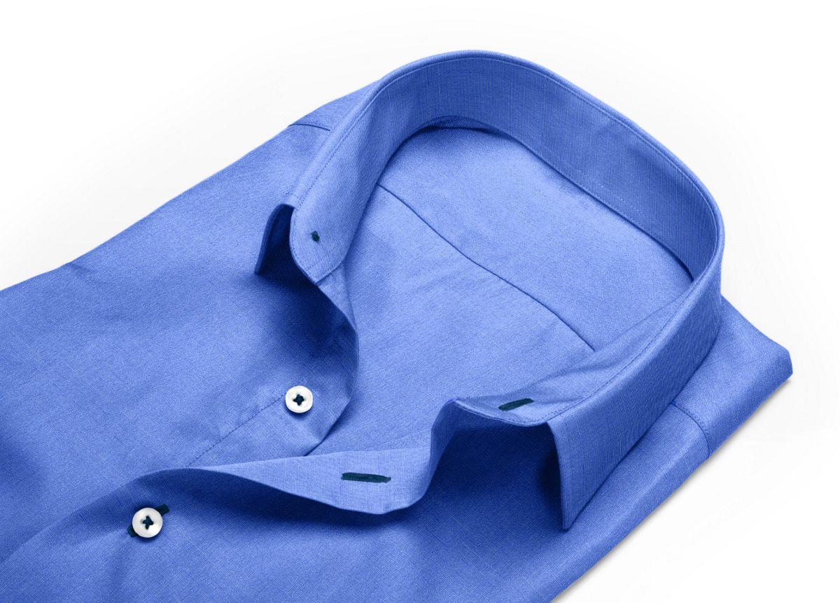 Chemise mini col bleu, bleu foncé fil à fil