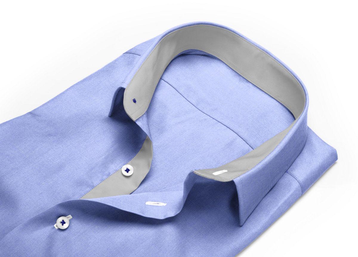 Chemise Col italien ouvert bleu fil à fil