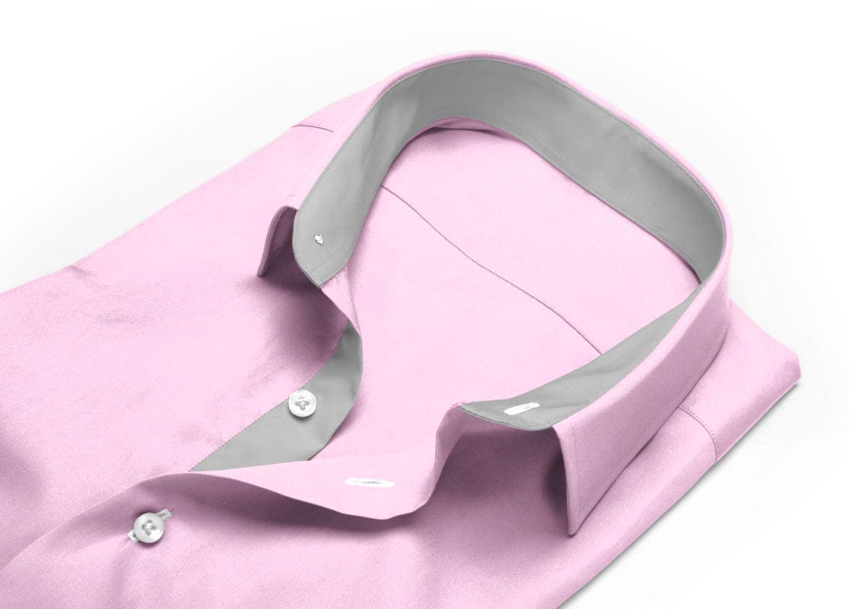 Chemise Col italien rose fil à fil