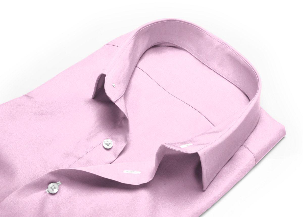 Chemise homme sur mesure col italien ouvert rose uni