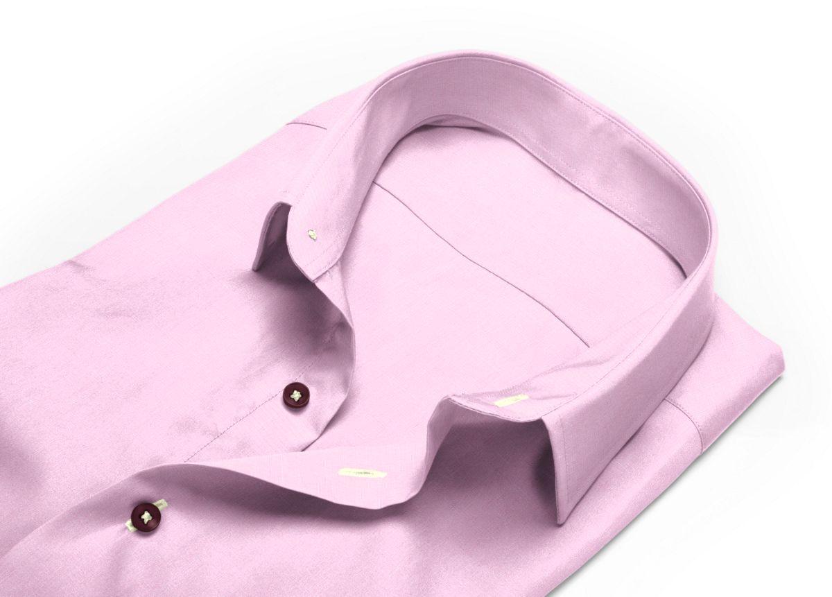 Chemise homme sur mesure petit col classique rose uni