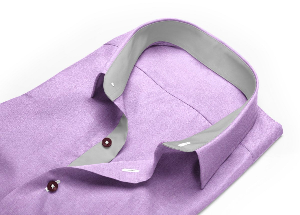 Chemise Col italien très ouvert violet fil à fil