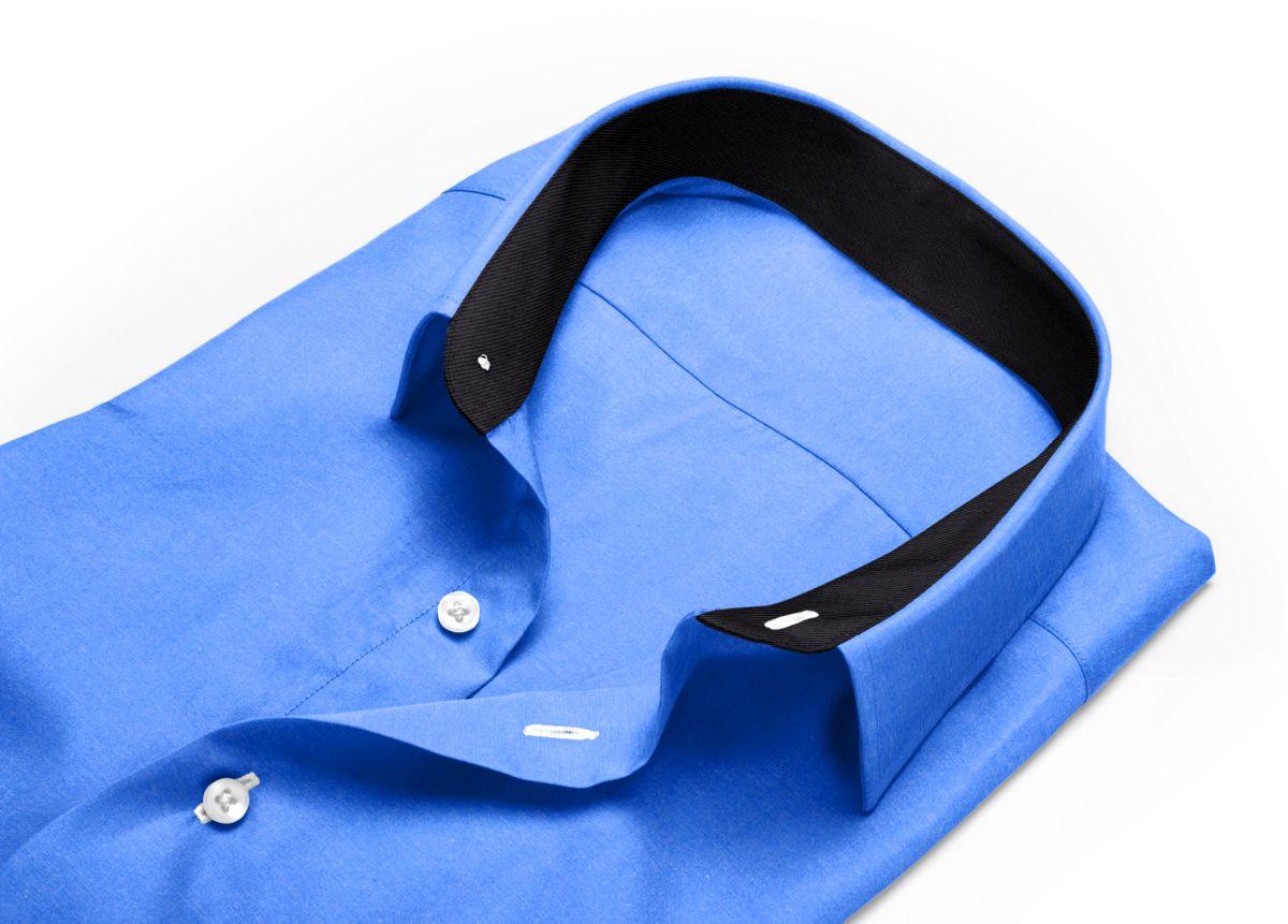 Chemise homme sur mesure col classique bleu uni