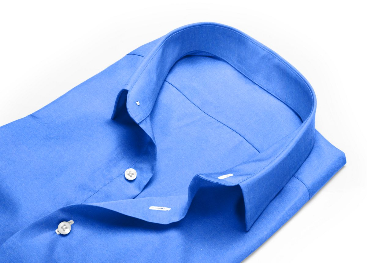 Chemise Col italien ouvert bleu oxford