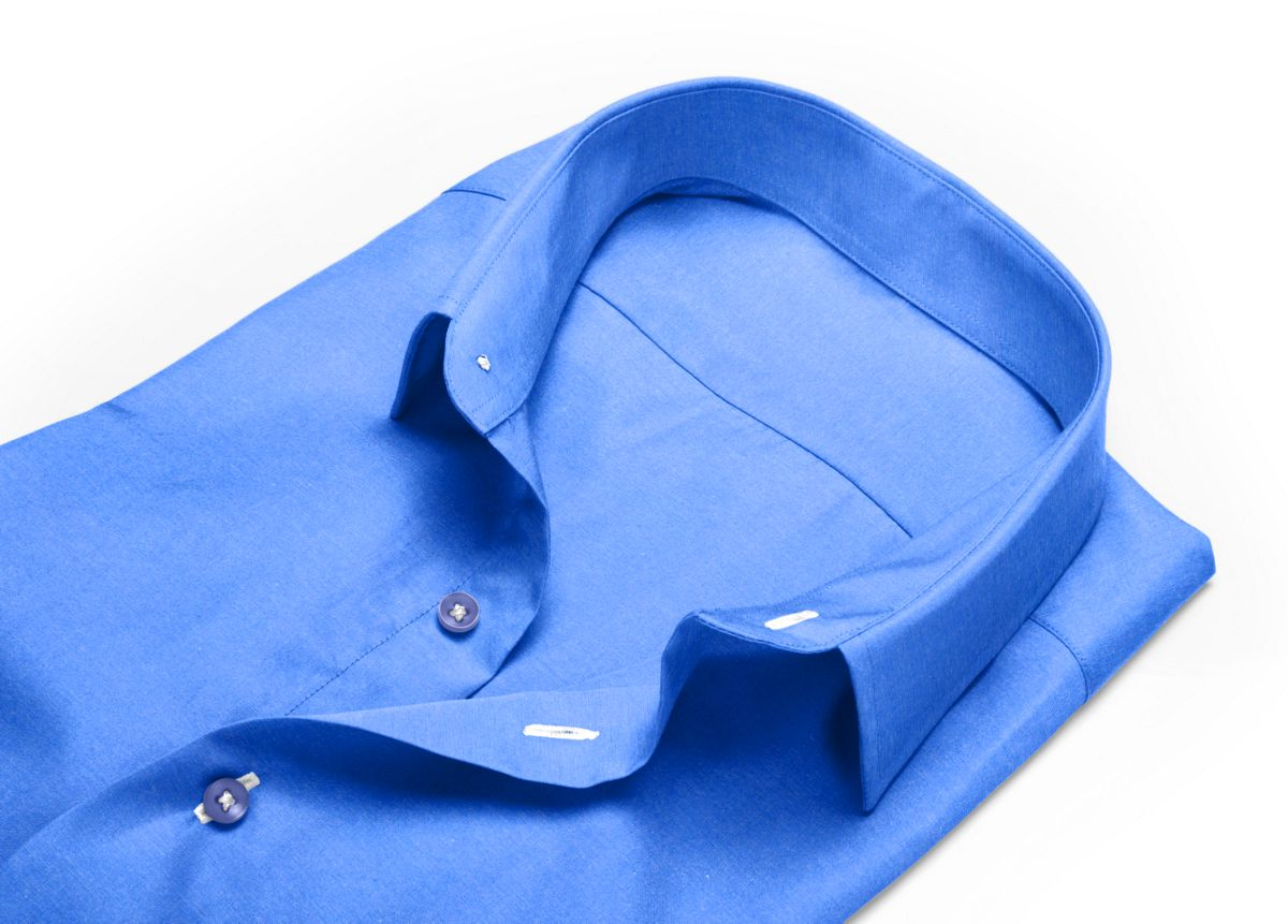 Chemise Col italien bleu oxford