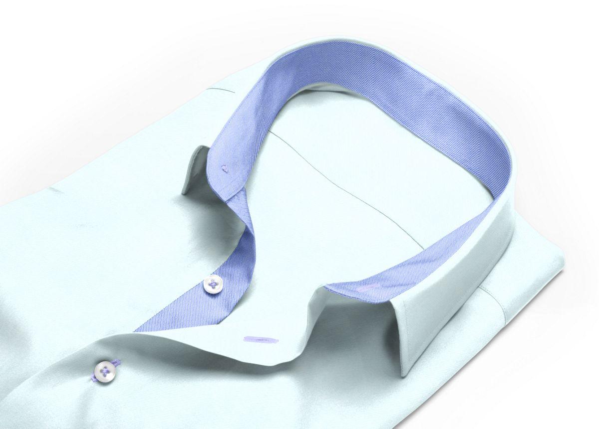 Chemise Petit col classique bleu clair, bleu twill