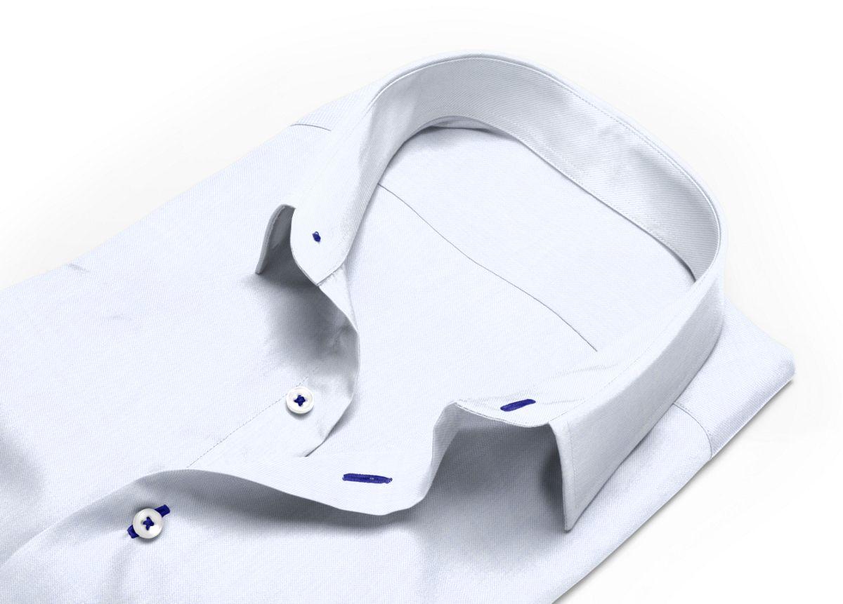 Chemise homme sur mesure mini col boutonné blanc uni