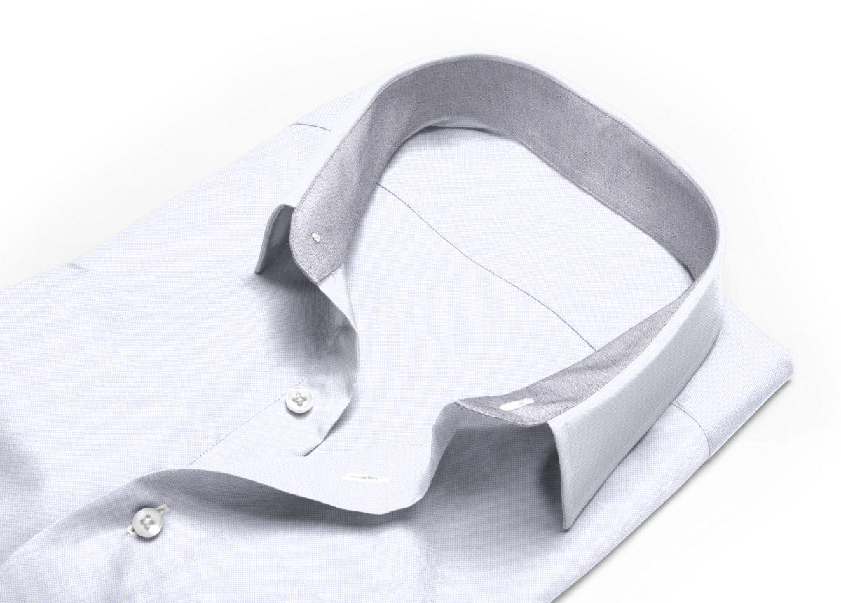 Chemise Col italien gris, gris clair royal oxford
