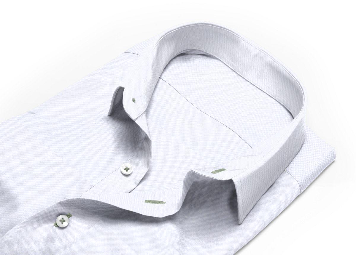 Chemise homme sur mesure col italien ouvert gris, gris clair uni