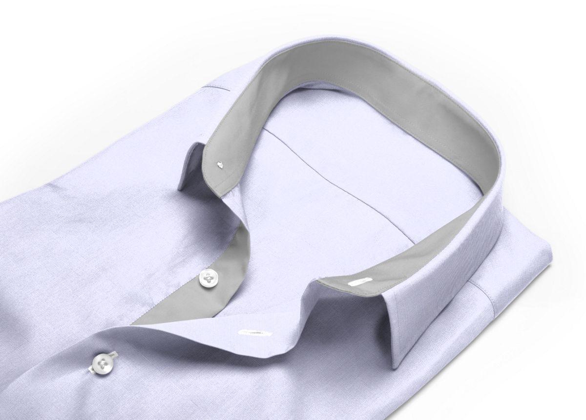 Chemise homme sur mesure petit col classique gris uni
