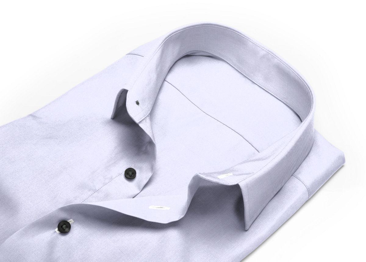 Chemise Col italien ouvert gris fil à fil