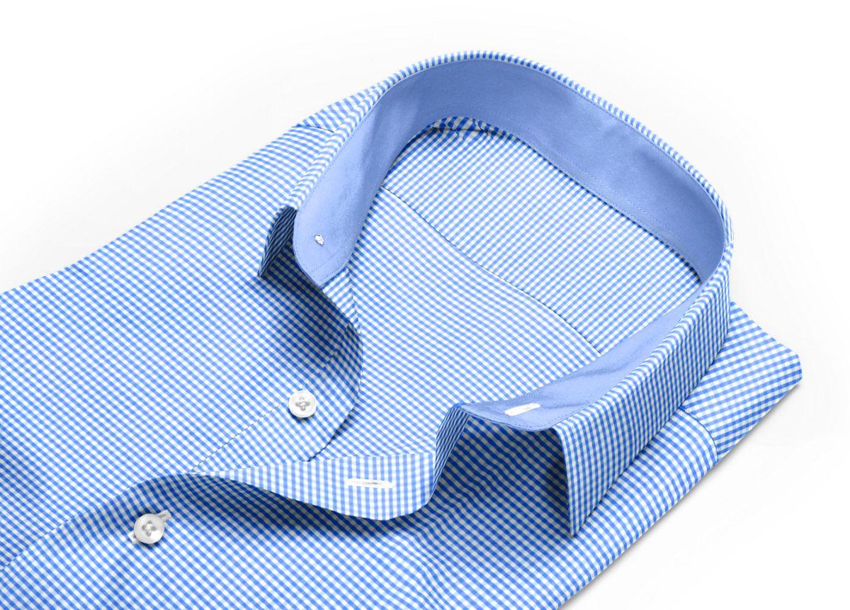 Chemise homme sur mesure mini col bleu, blanc carreaux