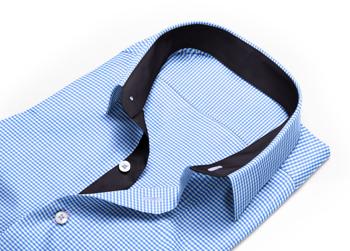Chemise Col boutonné bleu, Blanc popeline